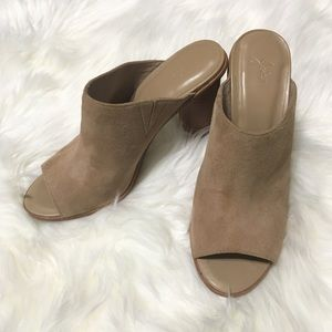 Joie Clementine nude suede mules